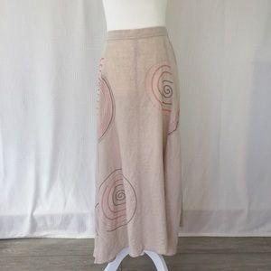 J.Jill linen spiral embroidered maxi skirt